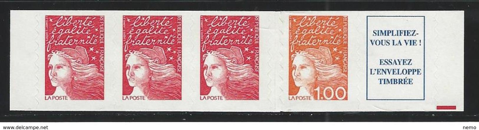 TYPE 2. Bande De 4 Timbres Marianne De Luquet Autocollants De Carnet . 1 Fr + TVP - France