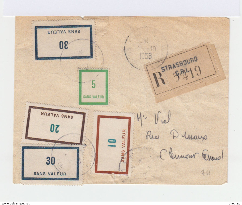 Sur Enveloppe Recommandée 5 Simili Timbres. CAD Strasbourg 1958. (757) - Fictifs