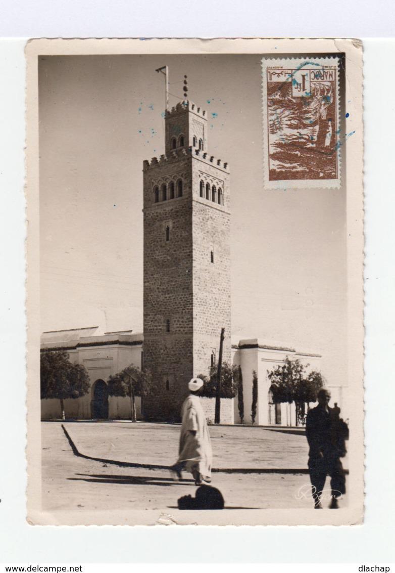 Sur Carte Postale Deux Timbres Maroc: 3 F Brun Fès Et 1 F. Brun Forôts Cédres. CAD Bleu 1947. (748) - Maroc (1891-1956)