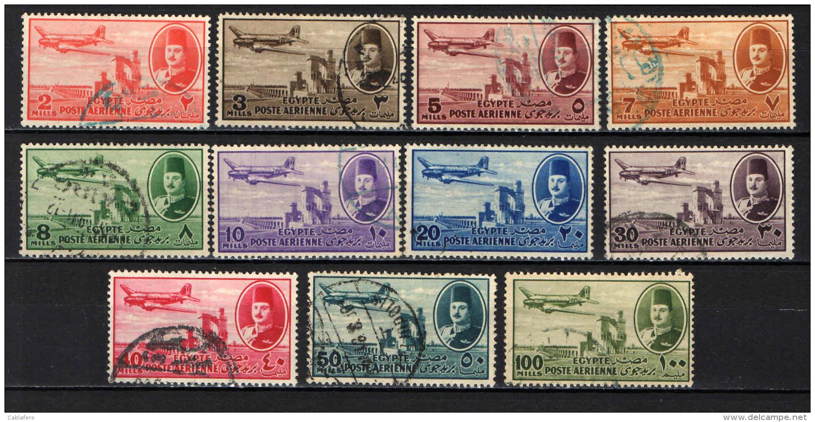 EGITTO - 1947 - AEREO ED EFFIGIE DEL RE FAROUK - USATI - Posta Aerea