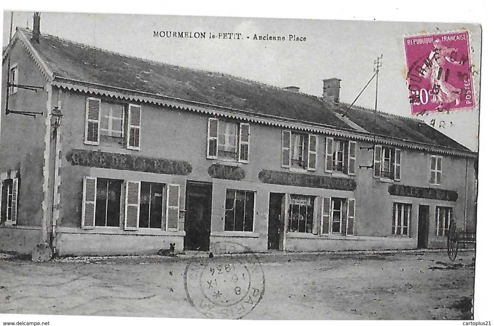 MOURMELON LE PETIT  ANCIENNE PLACE  CAFE  EPICERIE  SALLE DE BAL     DEPT 51 - Autres Communes