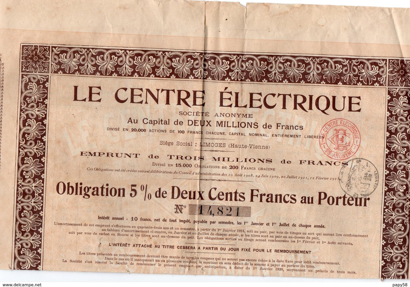 Vieux Papiers > Actions & Titres > Thèmes > Electricité & Gaz Limoges Le Centre Electrique - Electricité & Gaz