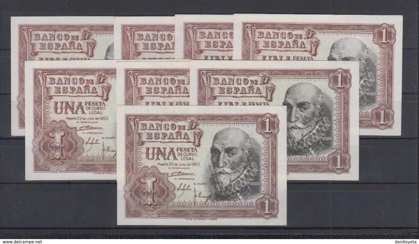 EDIFIL 465a.  1 PTA 22 DE JULIO DE 1953.   LOTE DE 8 BILLETES. - [ 3] 1936-1975 : Régence De Franco