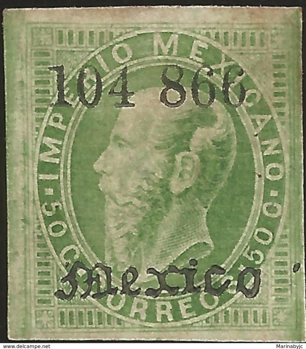 J) 1866 MEXICO, EMPEROR MAXIMILIAN, MEXICO GOTHIC, 50 CENTS, ENGRAVED, XF - Mexico