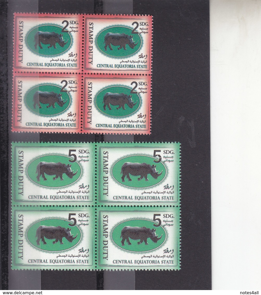 Stamps SOUTH SUDAN REVENUES OF CENTRAL EQUATORIAL STATE 2 BLOCKS OF 4 MNH - South Sudan