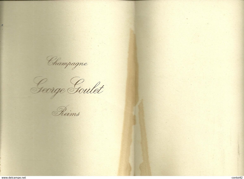 51 REIMS MENU CHAMPAGNE GEORGE GOULET PUBLICITE FEMME ART DECO ILLUSTRATEUR MARNE - Menus