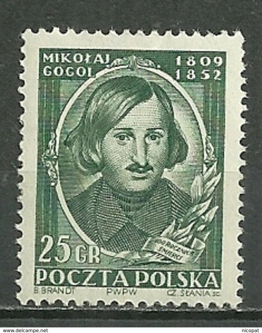POLAND MHH ** 647 CENTENAIRE DE LA MORT DU POETE RUSSE NICOLAS GOGOL écrivain Littérature - 1944-.... République