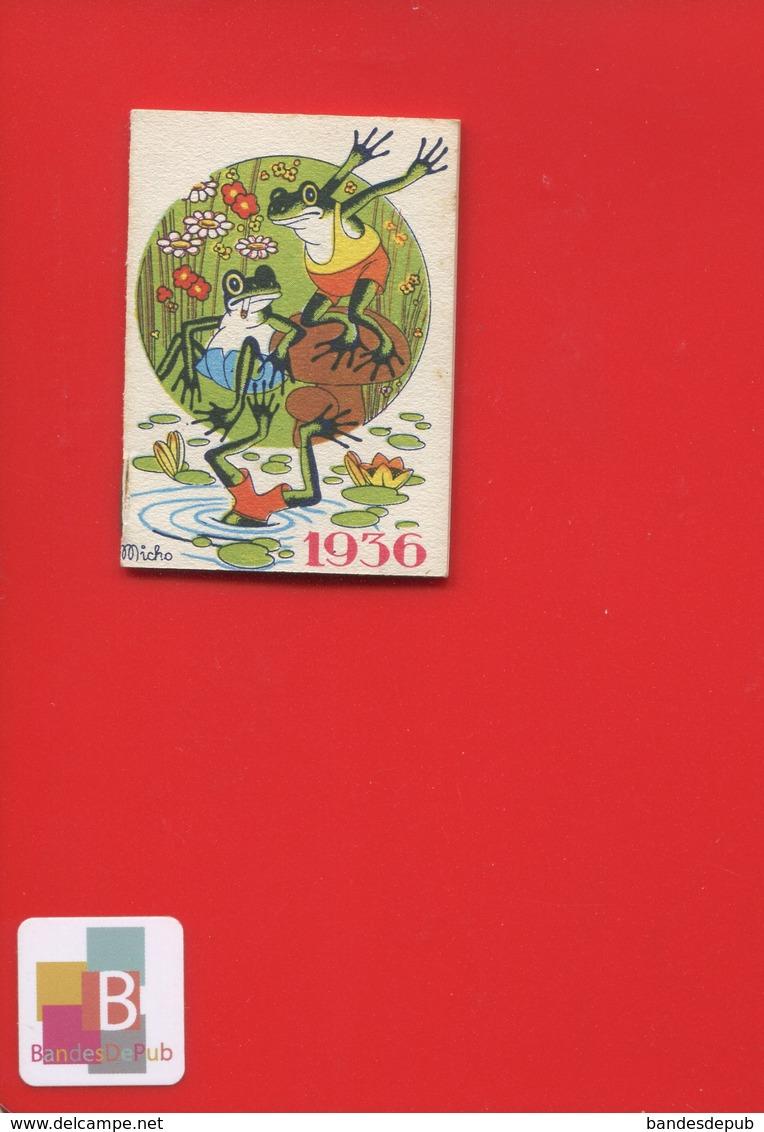 Ravissant Carnet Calendrier 1936  Crème Eclipse Cirage Illustrateur Micho Grenouille Abeille Plongeon Très Bel état - Kalenders