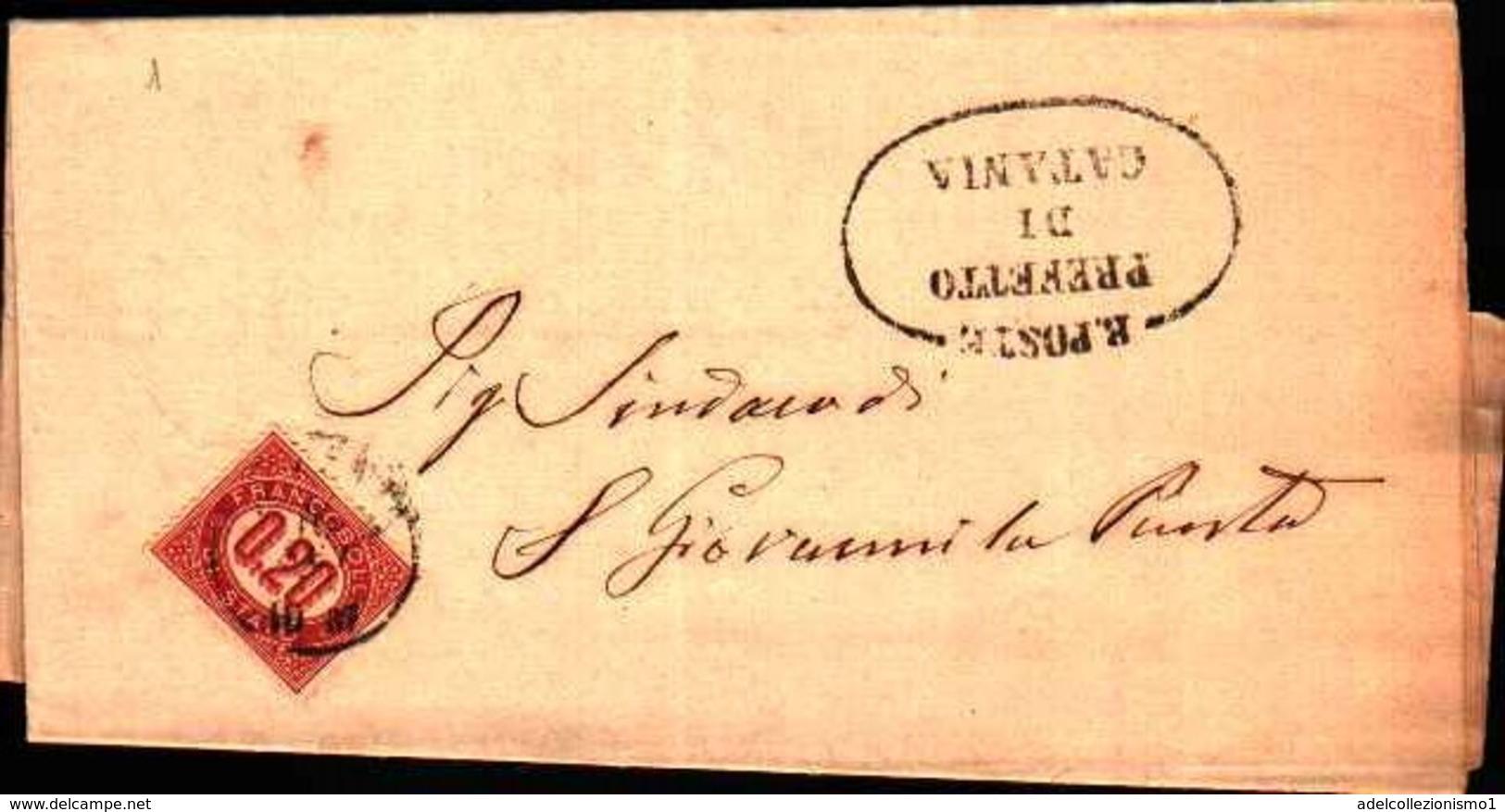 72777) LETTERA CON  20C.SERVIZIO DI STATO DA CATANIA A S. GIOVANNI LA PUNTA IL 15-9-1875 - Servizi