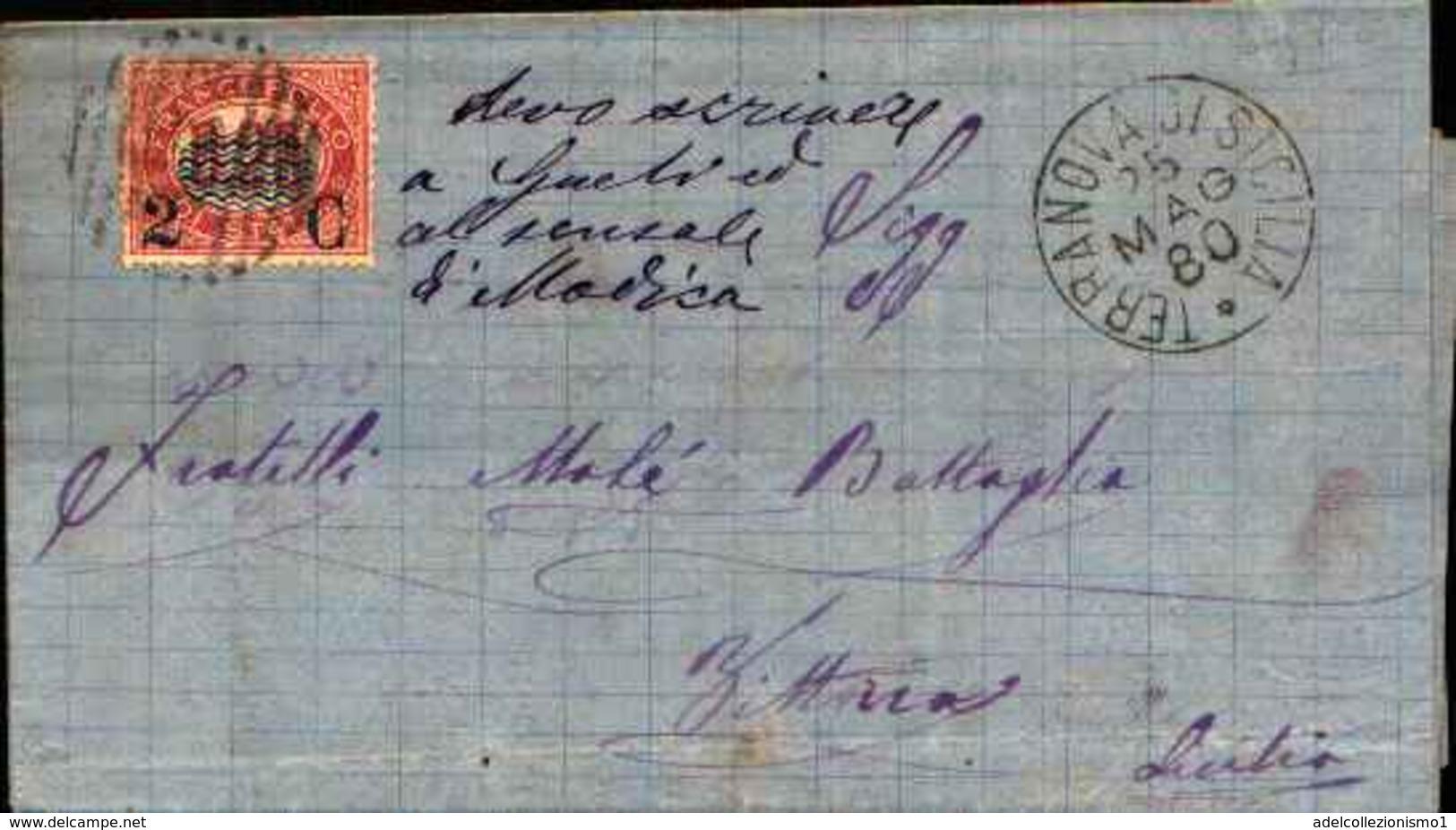 72778) LETTERA CON  2C. SU 20C.SERVIZIO DI STATO DA TERRANOVA A VITTORIA IL 25-5-1880 - 1861-78 Vittorio Emanuele II