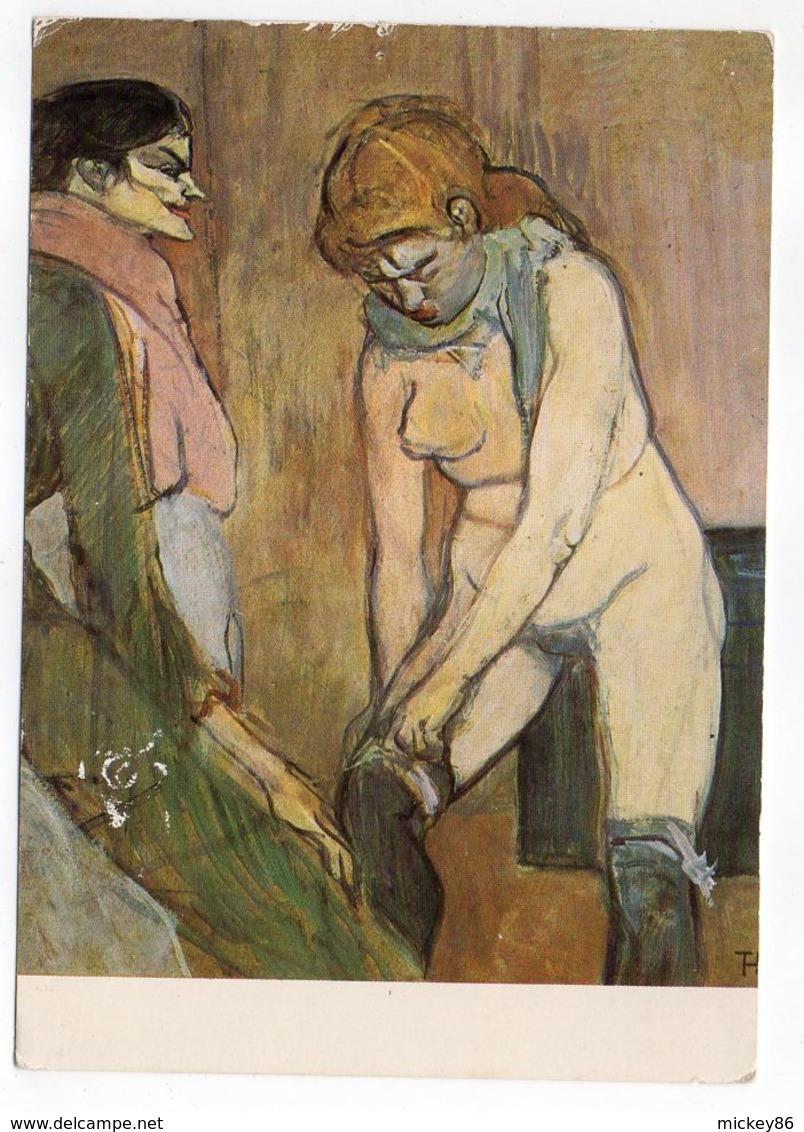 """Nu - TOULOUSE-LAUTREC  --femme Nue-- Tableau """" Femme Tirant Son Bas Ou Femme De Maison  """" - Tableaux"""