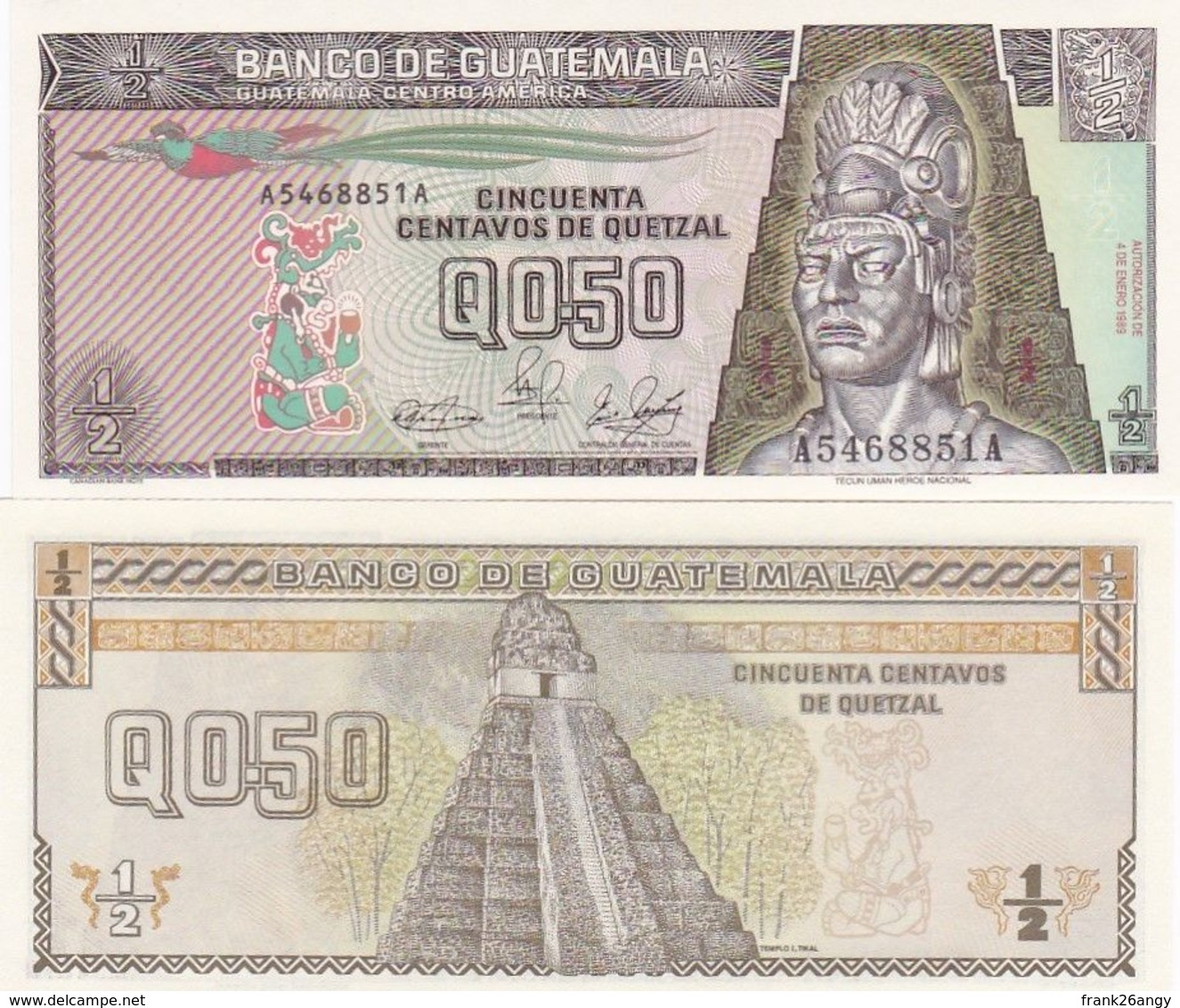 GUATEMALA - 1989 - Banconota Da 0,50 Quetzal Pick 65 In Condizioni Di FDS - Guatemala