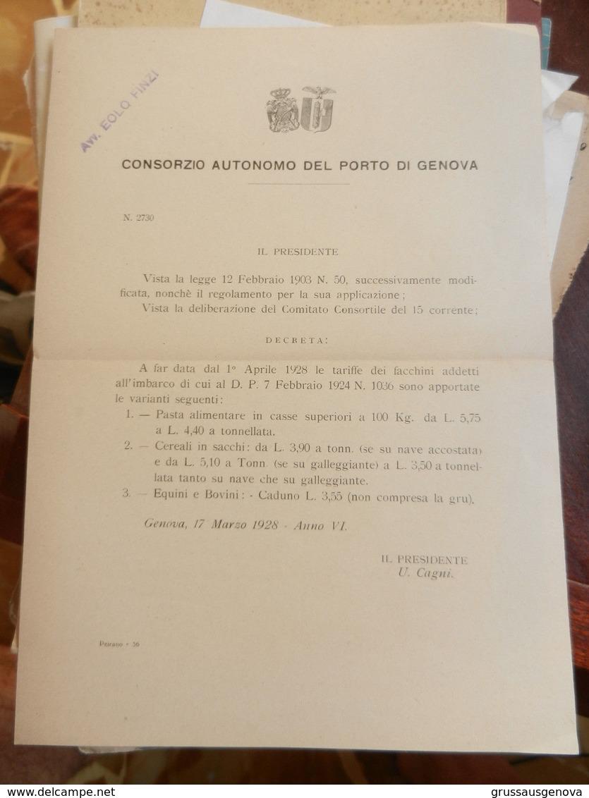 7a) CONSORZIO AUTONOMO PORTO DI GENOVA TARIFFE FACCHINI 1928 - Decreti & Leggi