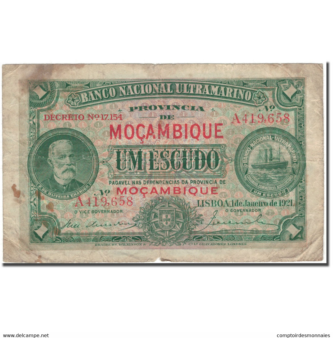 Billet, Mozambique, 1 Escudo, 1921-01-01, KM:66a, B - Mozambique