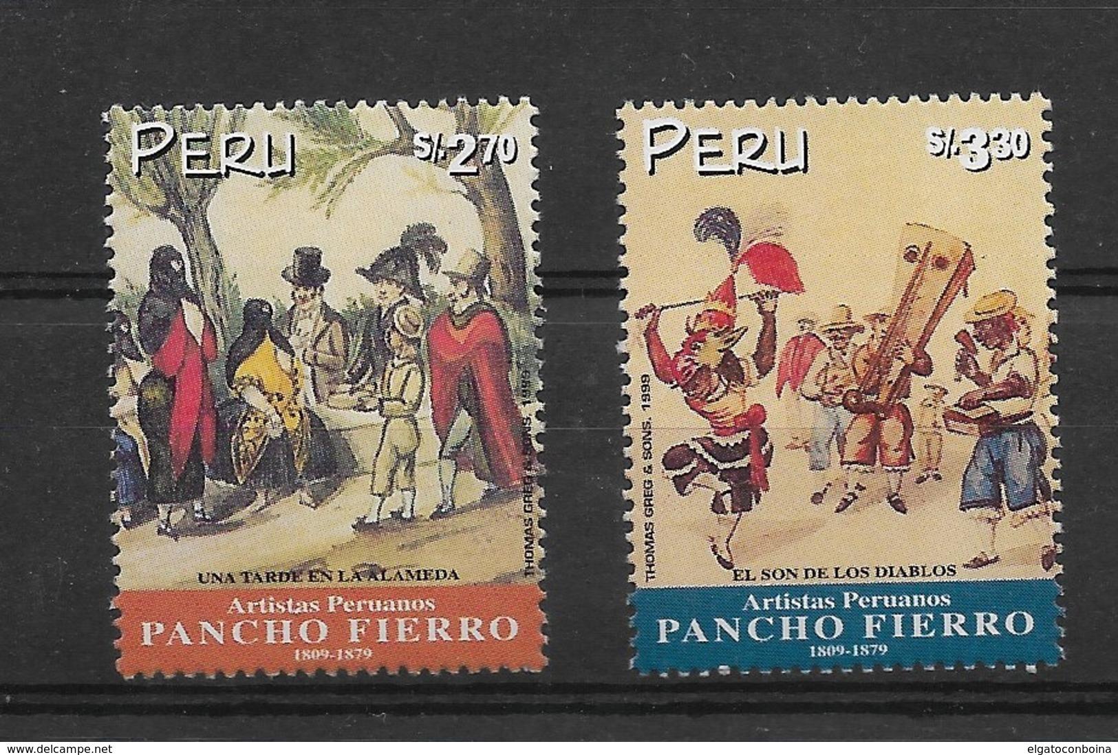 Peru 1999, PERUVIAN ARTISTS, PANCHO FIERRO PAINTINGS 2 VALUES MNH SCOTT 1205-6 MICHEL 1663-4 - Peru
