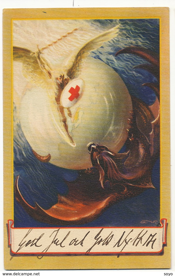 Superb Art Card Signed Red Cross The Bat Fighting Red Cross Used From Sweden Chauve Souris Croix Rouge - Croix-Rouge