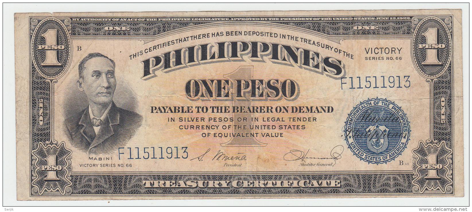 Philippines 1 Peso 1944 AVF Victory Over Japan WW 2 - Series B Pick 94 - Filippijnen
