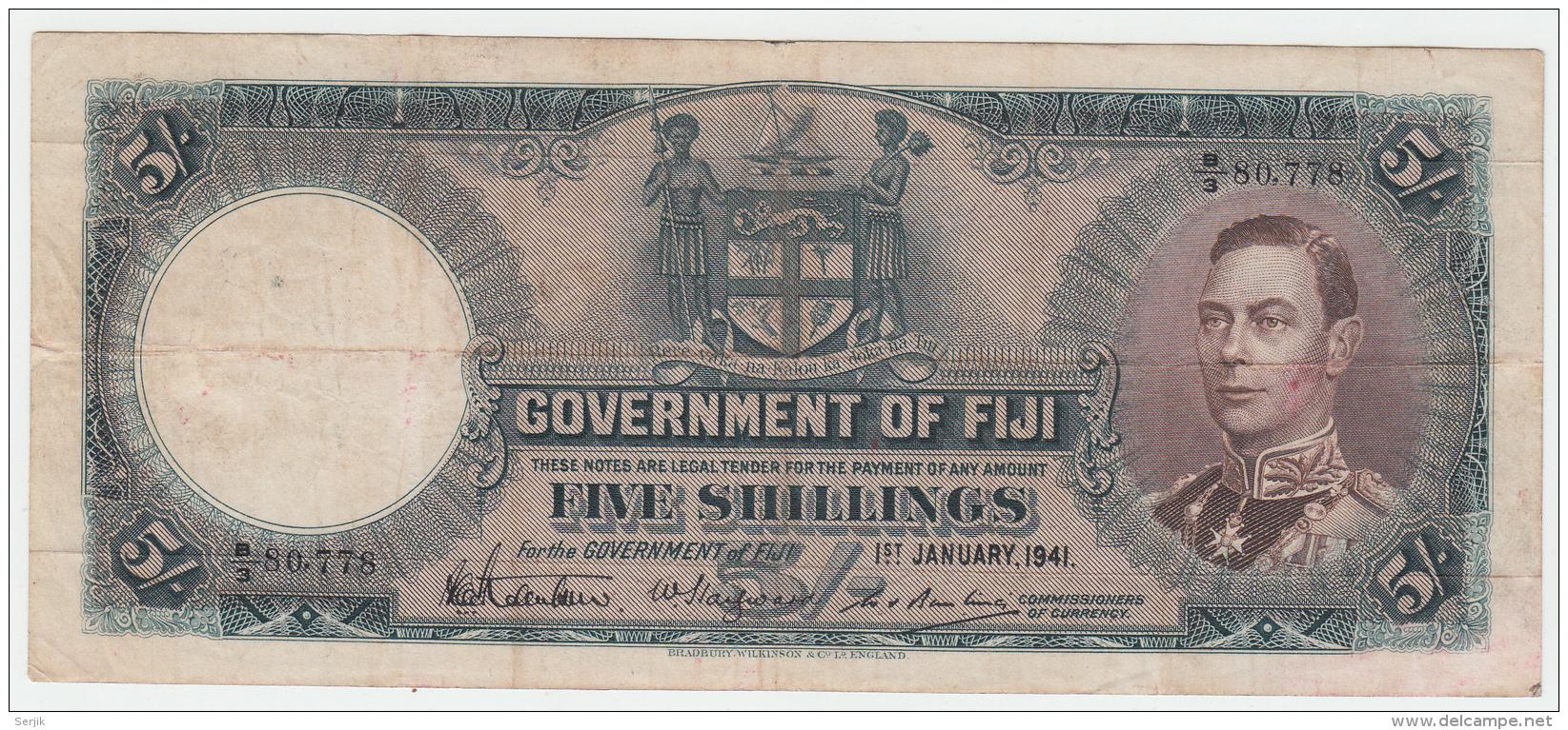 Fiji 5 Shillings 1941 RARE Banknote Pick 37d 37 D - Fidji
