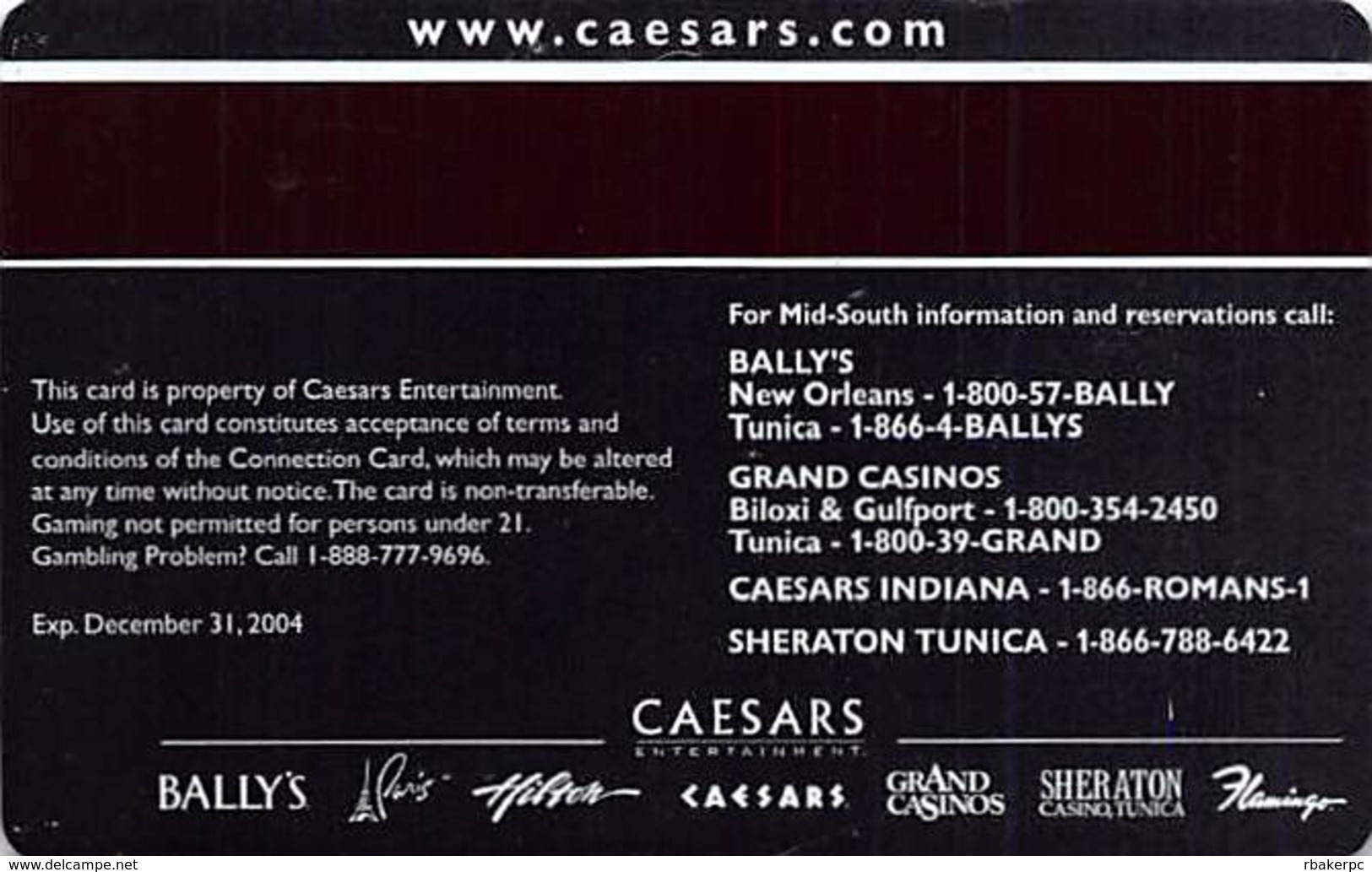 Grand Casino - Biloxi MS - Slot Card  - Large GO - Casino Cards
