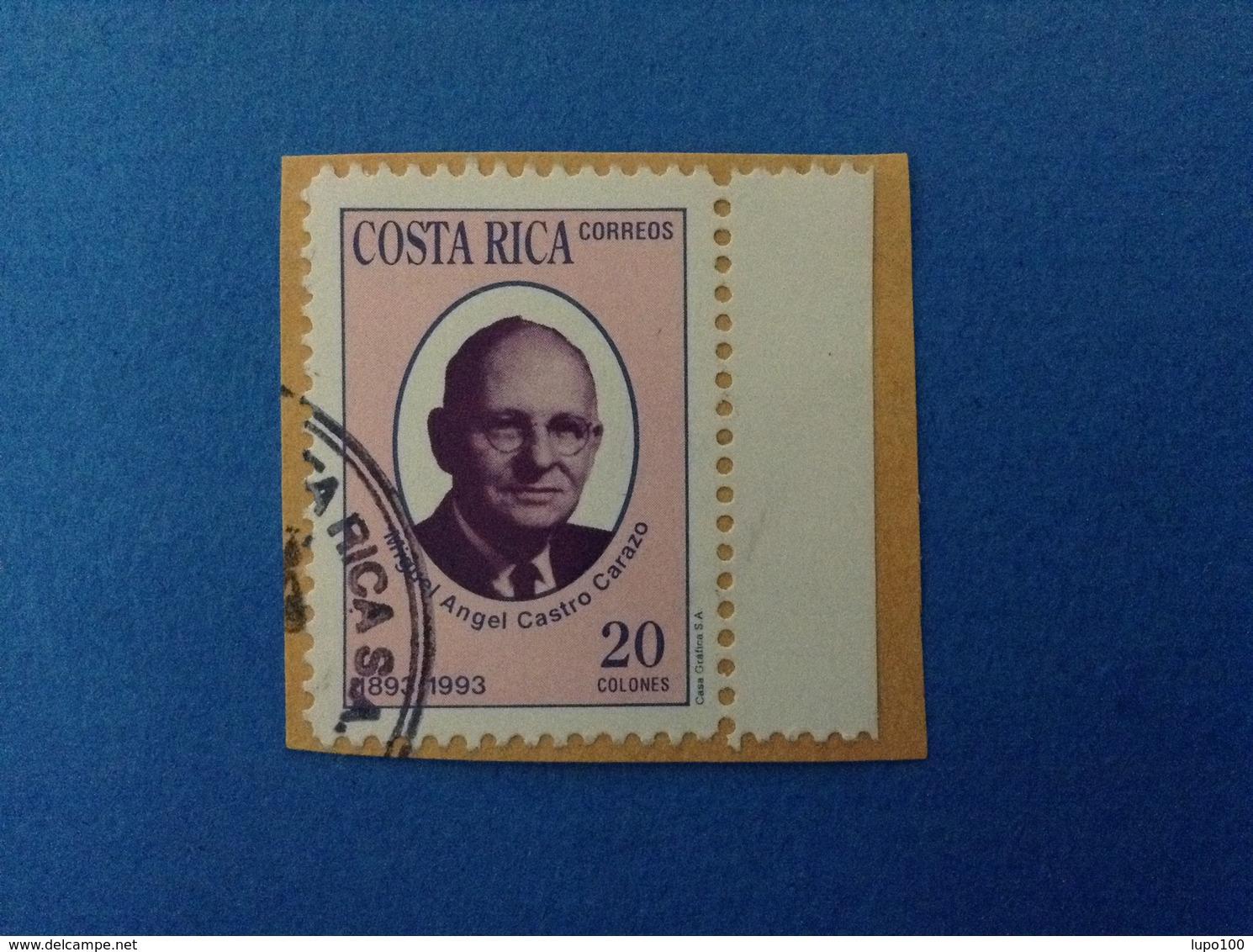 1993 COSTA RICA FRANCOBOLLO USATO STAMP USED MIGUEL ANGEL CASTRO CARAZO 20 C - Costa Rica