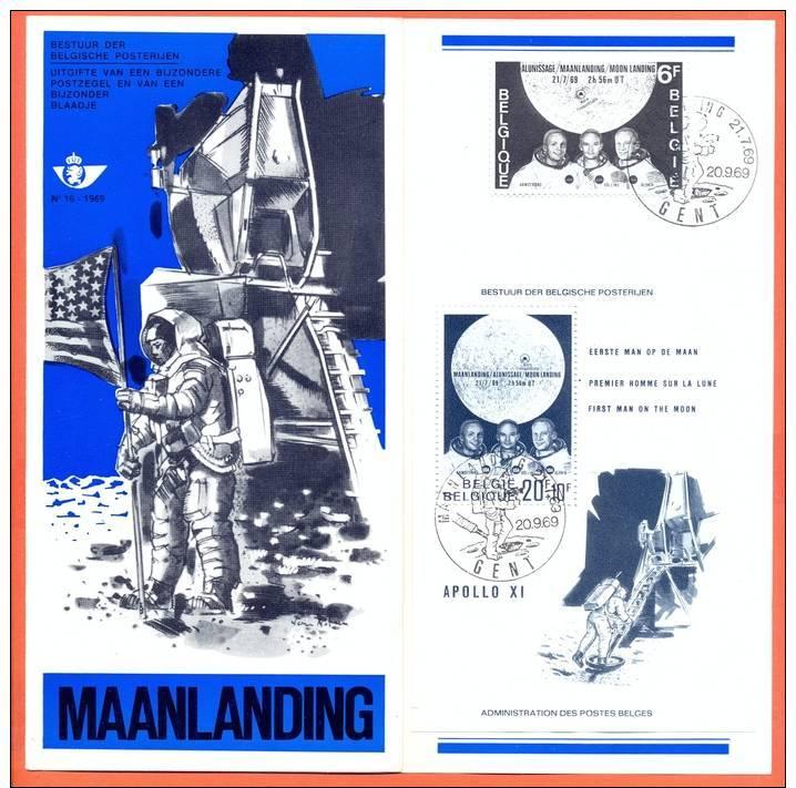 Belgie Belgique Belgium Postfolder Nr 16 1969 NL - 1508 BL 46 Maanlanding  First Man On The Moon FDC Fine Used - Documents De La Poste