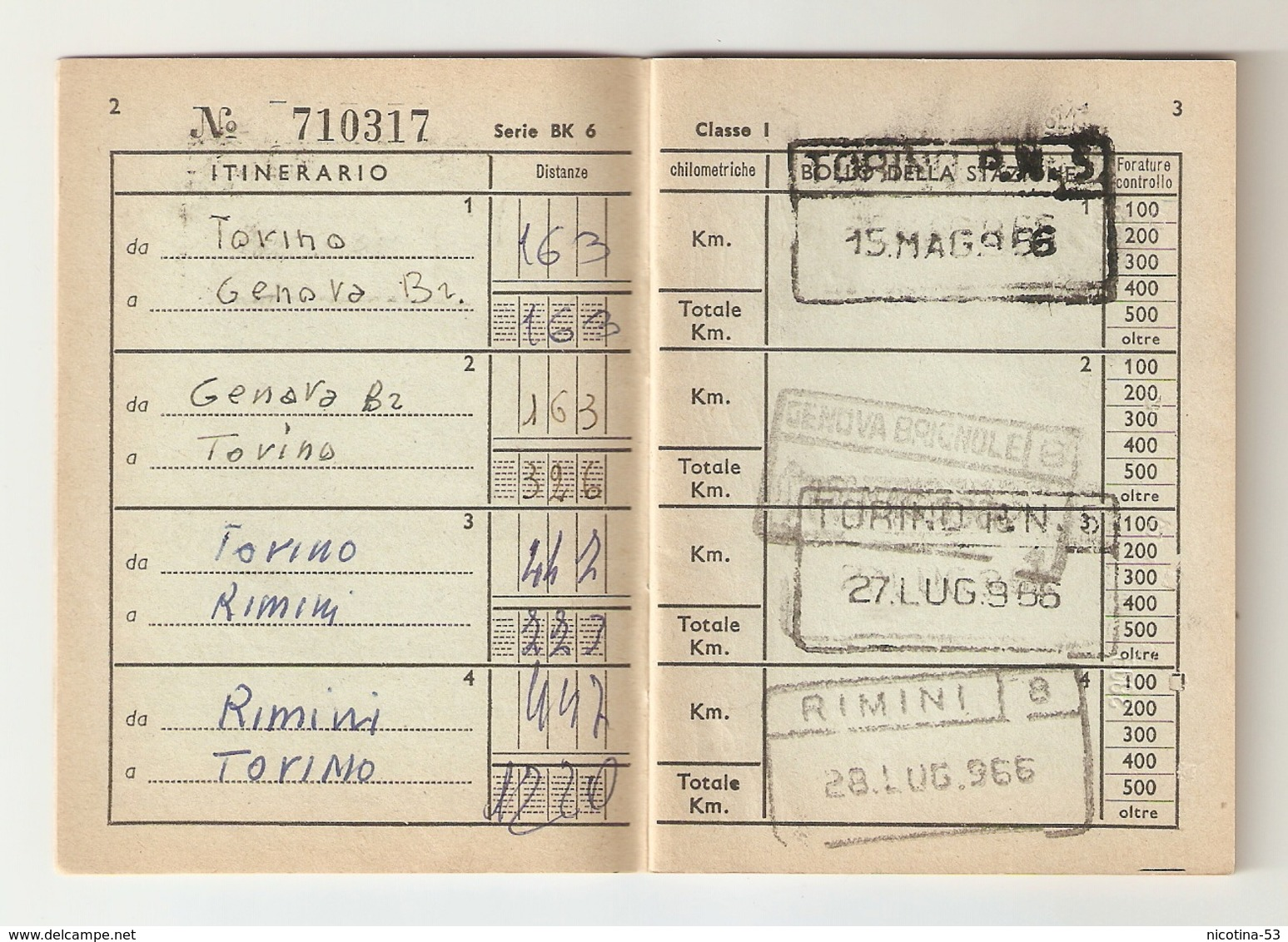 BIGLI--0013-- FERROVIE DELLO STATO-BIGLIETTO CHILOMETRICO ANNO 1966 - ( Km. 6000 ) - I CLASSE - Europa