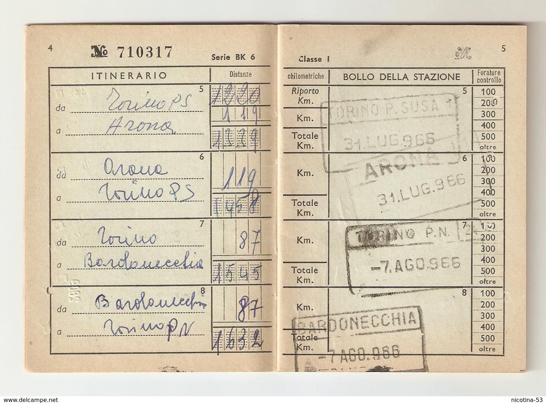 BIGLI--0013-- FERROVIE DELLO STATO-BIGLIETTO CHILOMETRICO ANNO 1966 - ( Km. 6000 ) - I CLASSE - Abbonamenti