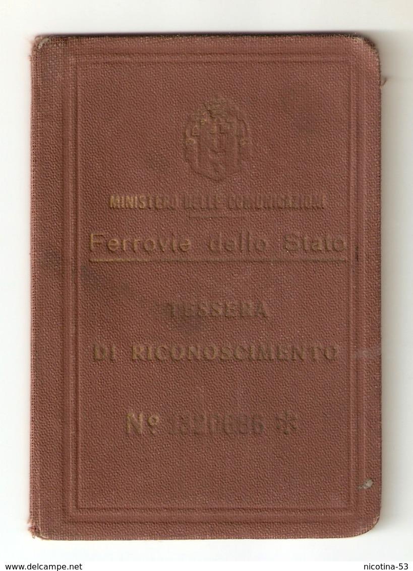 BIGLI--0015-- FERROVIE DELLO STATO- TESSERA RICONOSCIMENTO ANNO DI EMISSIONE 1940 - Abbonamenti