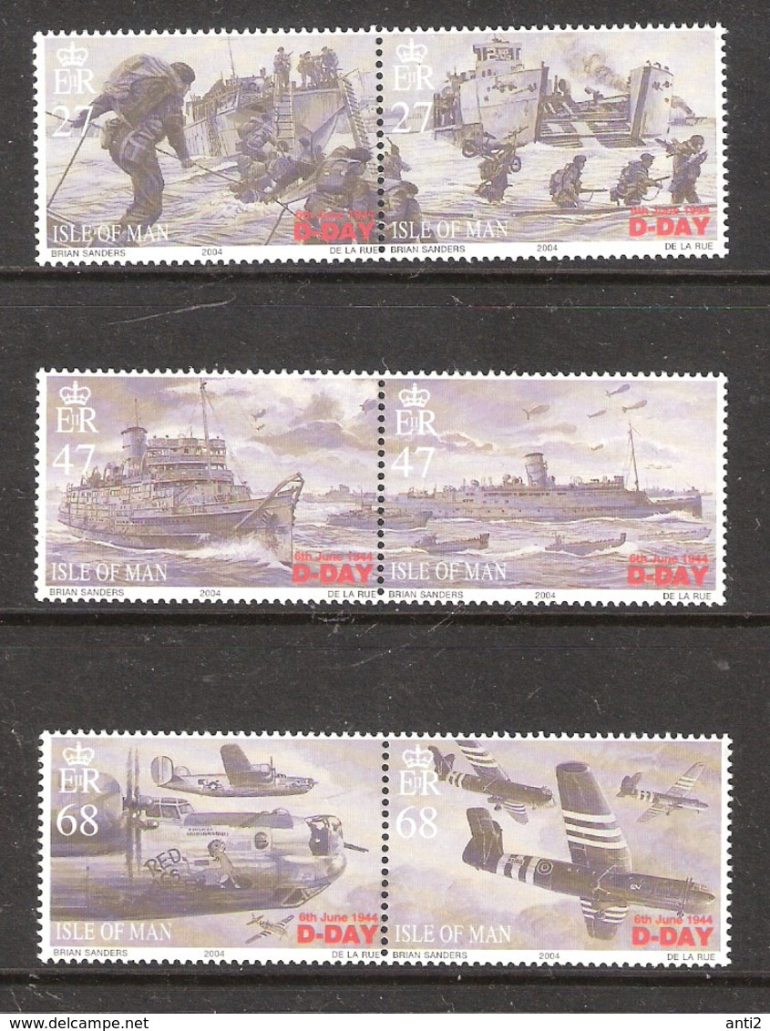 Isle Of Man 2004 60th Anniversary Of The Landing Of The Allies In Normandy, Missing One Pair In  Mi 1116-1121 -  MNH(**) - Man (Insel)