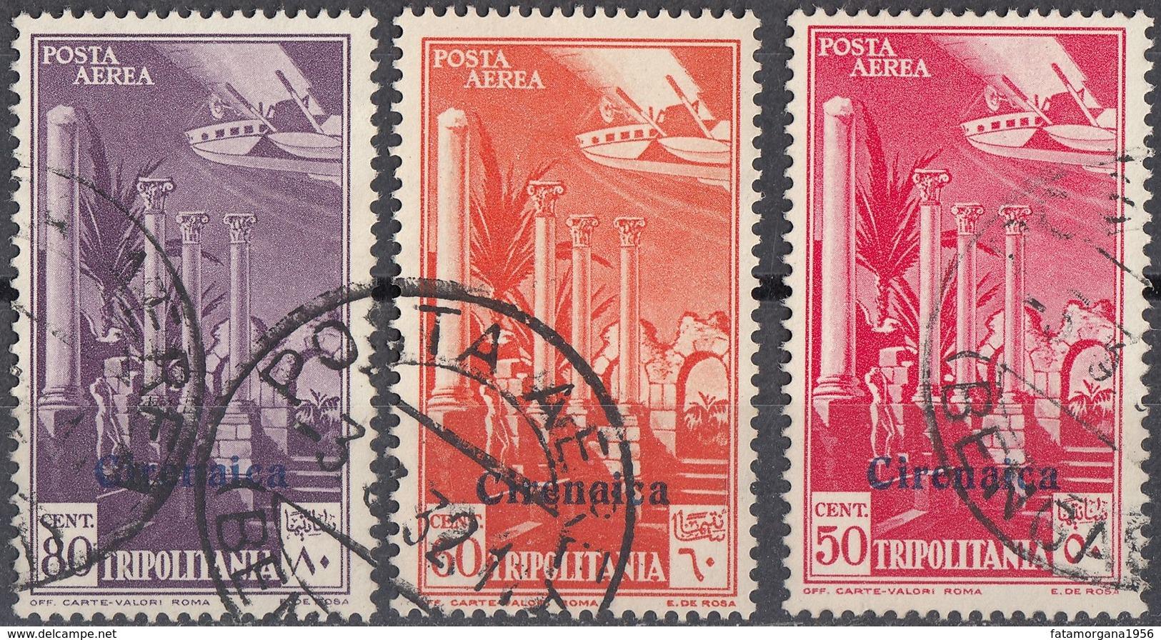 CIRENAICA (OCCUPAZIONE ITALIANA) - 1932 - Serie Completa Composta Da 3 Valori Obliterati: Posta Aerea Unificato 1/3. - Cirenaica