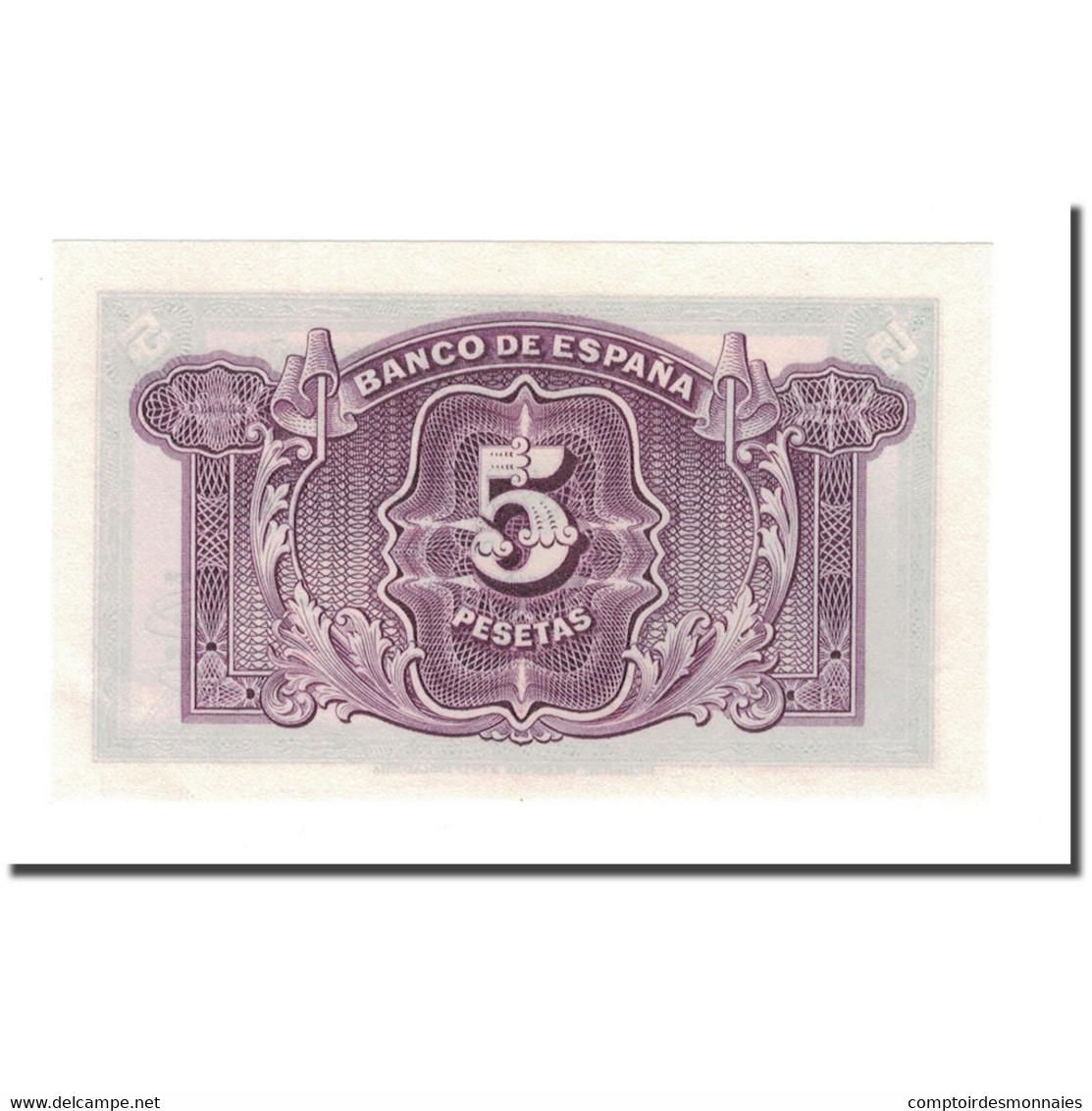 Billet, Espagne, 5 Pesetas, 1936, 1935, KM:85a, SPL+ - [ 3] 1936-1975 : Régence De Franco