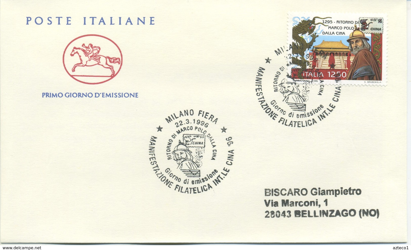 ITALIA - FDC  CAVALLINO 1996 -  MARCO POLO  - CINA 96 - ANNULLO SPECIALE MILANO - 6. 1946-.. Repubblica