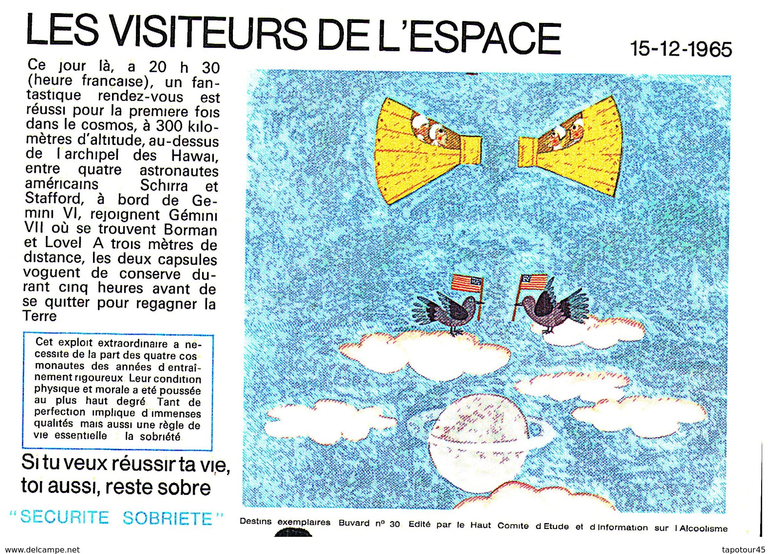 """S S A/Buvard  Sécurité Sobriété Info Alcolisme """"Visiteurs De L'ESPACE"""" (Frt 20 X 14) (N=5) - Buvards, Protège-cahiers Illustrés"""
