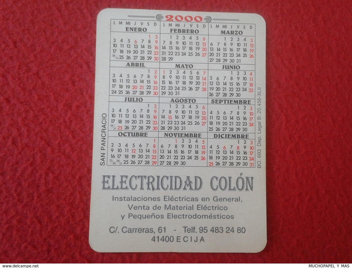 ANTIGUO CALENDARIO OLD CALENDAR DE BOLSILLO MANO IMAGEN RELIGIOSA SANTO HOLY SAINT SACRE SAN PANCRACIO AÑO 2000 RELIGIÓN - Calendarios