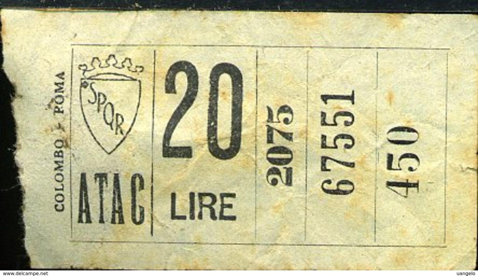 TR5 ROMA ATAC Lire 20 - Busse