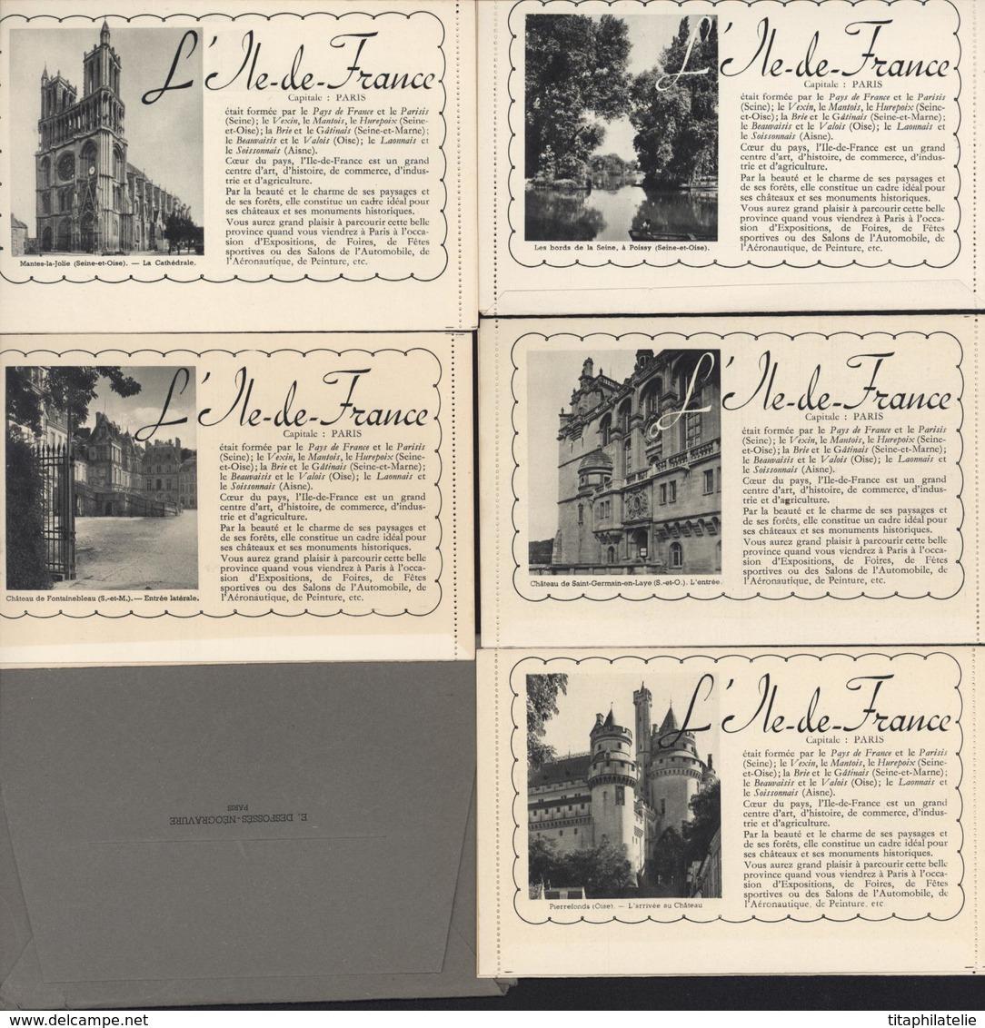 Entier Cartes Lettres Armoiries Ile De France Série Complète 5 CP Neuves Illustrations En Noir Sur Papier Blanc Pochette - Entiers Postaux