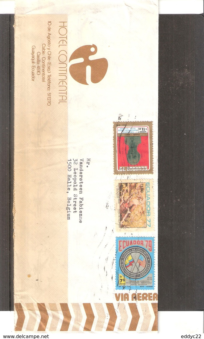 Hotel Cover From Ecuador To Belgium - 1979 (to See) - Equateur