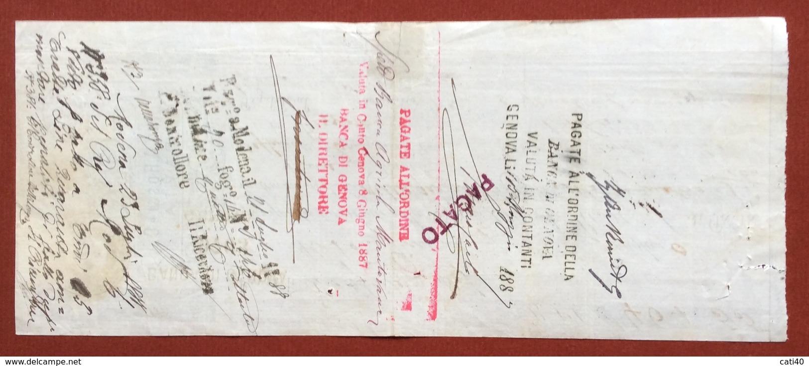 MARCHE DA BOLLO  PER CAMBIALI  LIRE 1,00  SU CAMBIALE ING.A.ROSSI PAVIA  DEL 1887 MOLTE FIRME AUTOGRAFE - Altri