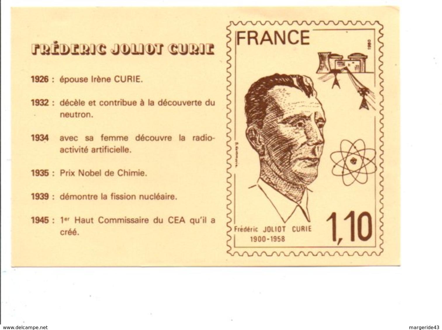 DEMANDE DE TIMBRE EN HONNEUR A FREDERIC JOLIOT CURIE - Postal Services