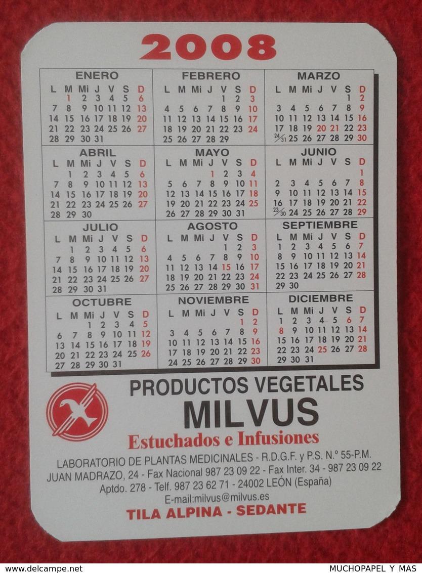 ANTIGUO CALENDARIO OLD CALENDAR DE BOLSILLO MANO 2008 PUBLICIDAD ADVERTISING PRODUCTOS VEGETALES MILVUS LEÓN SPAIN VER F - Calendarios
