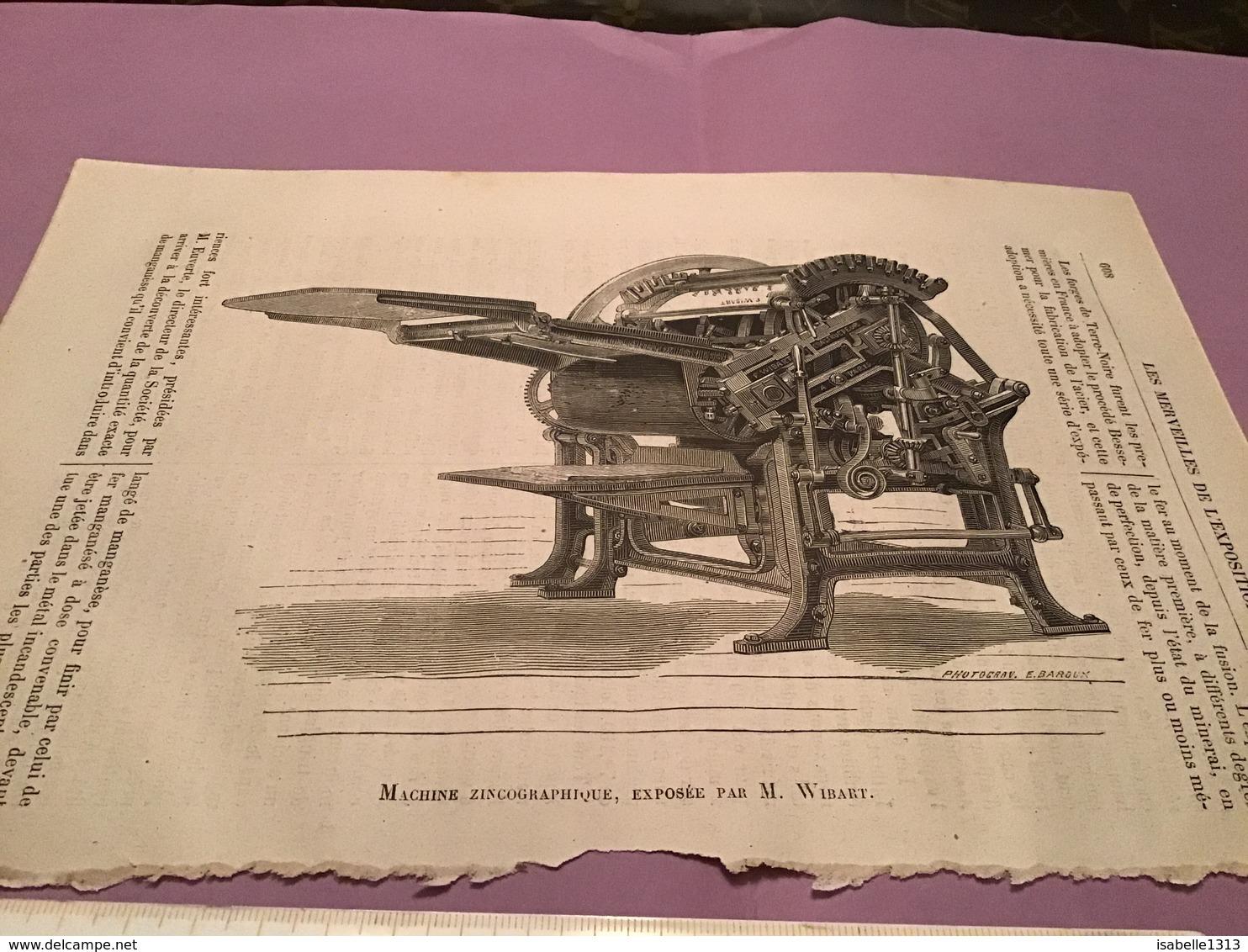 Une Image Du Live Les Merveille De L'exposition  Machine Zincographique Expose Par Wibart - Machines