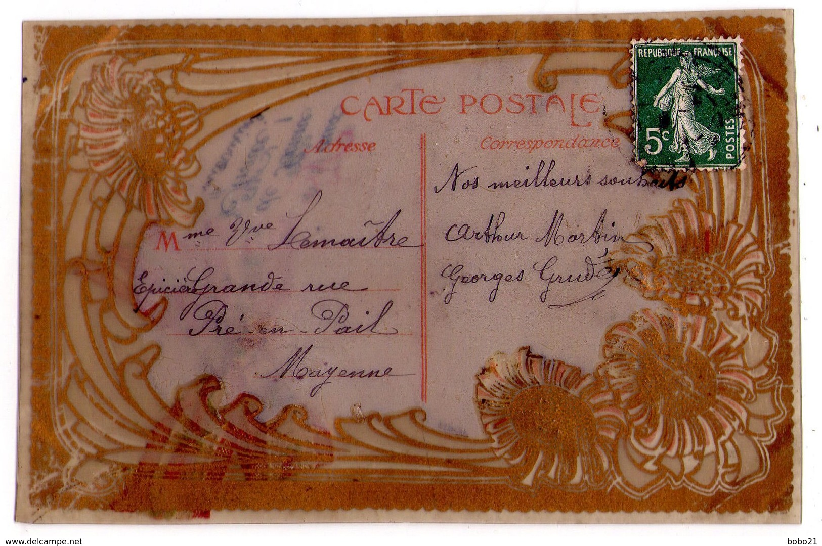 2880 - Cartes De Voeux En Celluloïd Avec Un Noeud En Ruban Brodé - - Cartes Postales