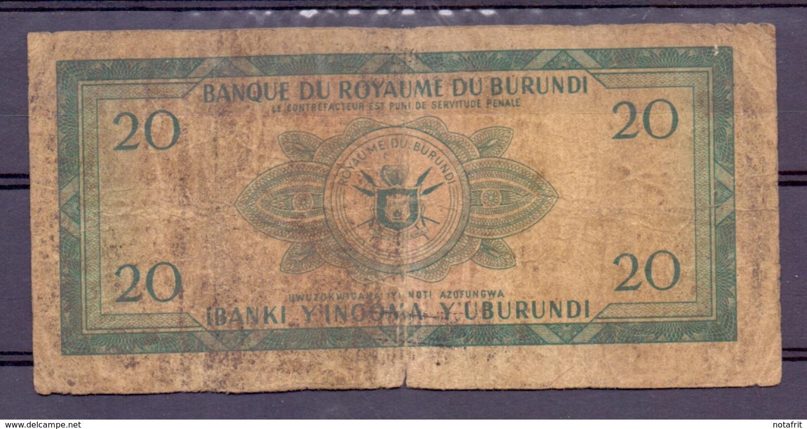 Burundi  20 Fr 1965 Overprint  Rare And Poor - Burundi
