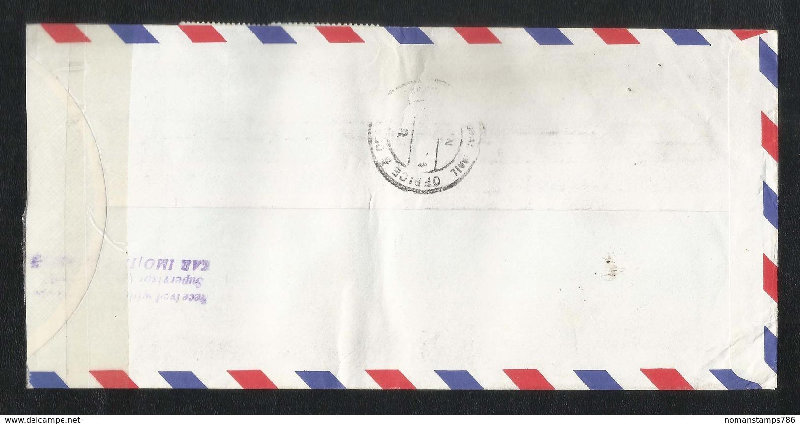 China Taiwan Registered Air Mail Postal Used Cover Taiwan To Pakistan  Fruit - Taiwán (Formosa)