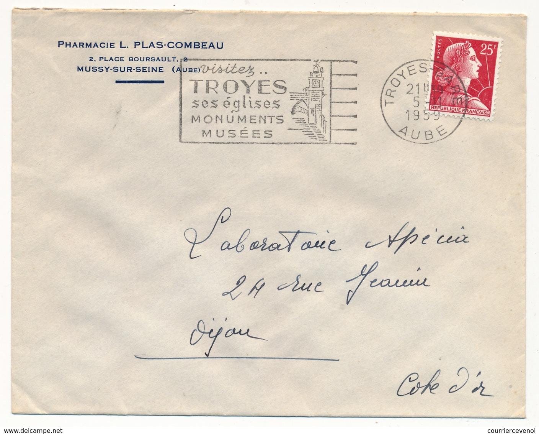 Enveloppe En-tête - Pharmacie L.Plas-Combeau Mussy S/Seine (Aube) - OMEC Visitez Troyes 1959 - Advertising