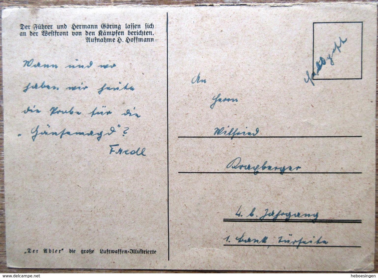 Hitler Und Göhring An Der Westfront - Beschriebene Karte - Personen