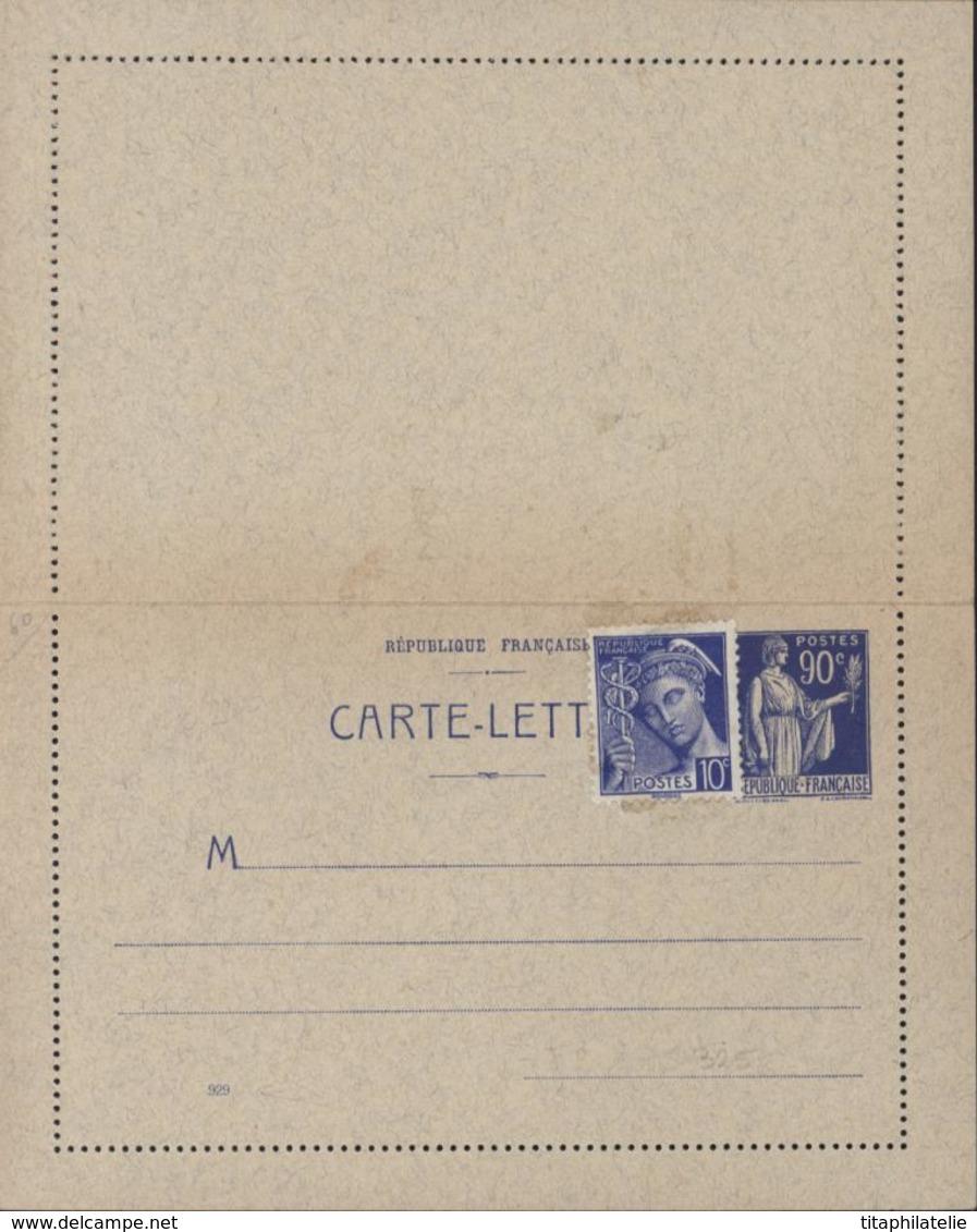 Entier Carte Lettre Paix Laurens 90ct Complément YT 407 Mercure 0.10 Changement Tarif Date 929 Storch F2 Timbre Type 3 - Postal Stamped Stationery
