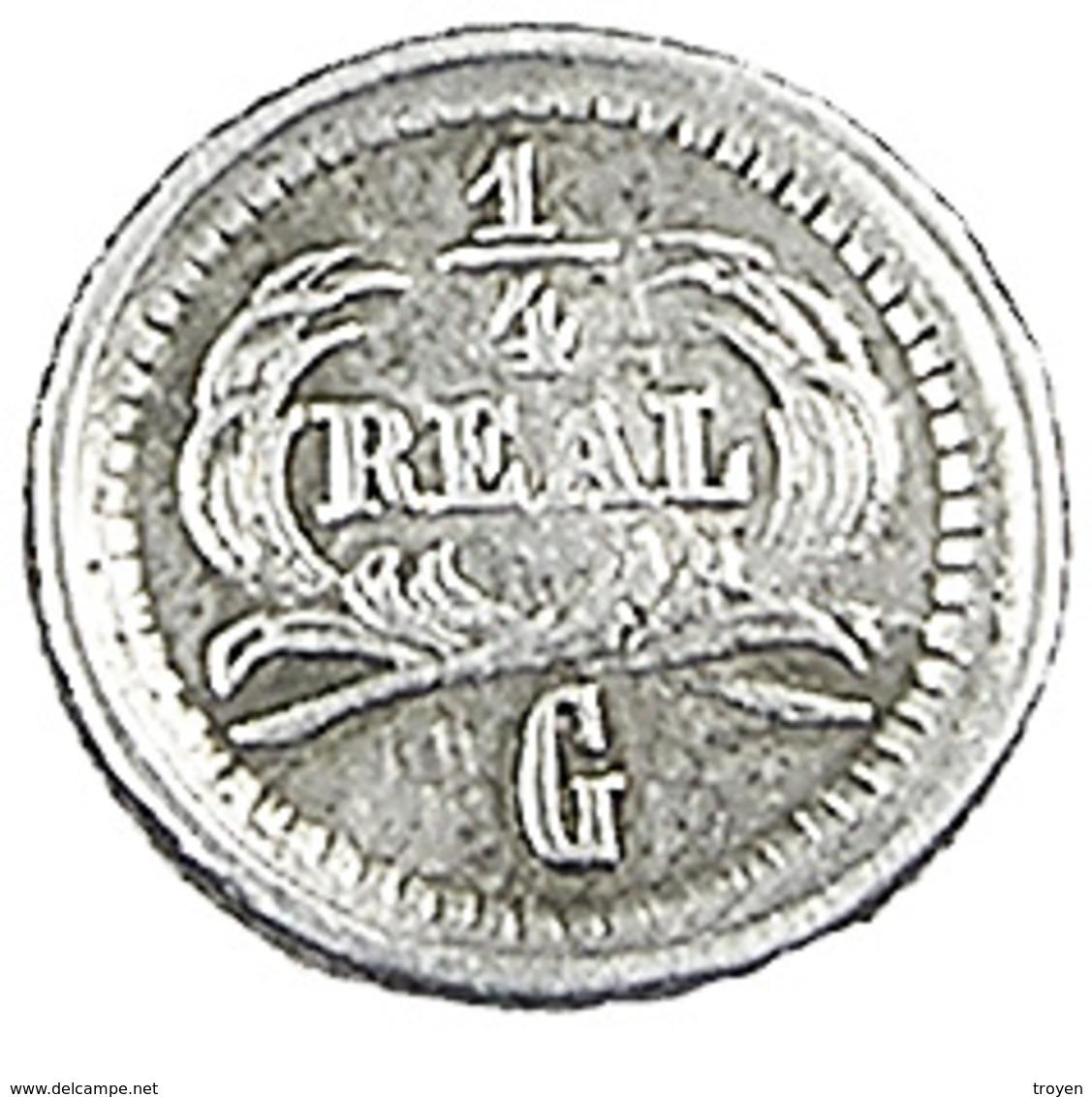 1/4 Réal - Guatemala - 1878 - Grand G  - Argent -   TTB - - Guatemala