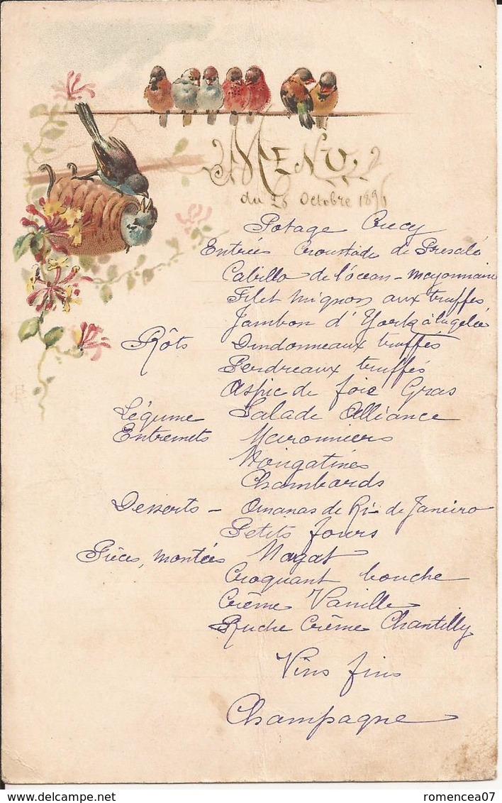 """MENU """" CHAMPÊTRE """" ANCIEN  Du 23 Octobre 1895 ! - OISEAUX Du CIEL  - A Voir ! - Menus"""