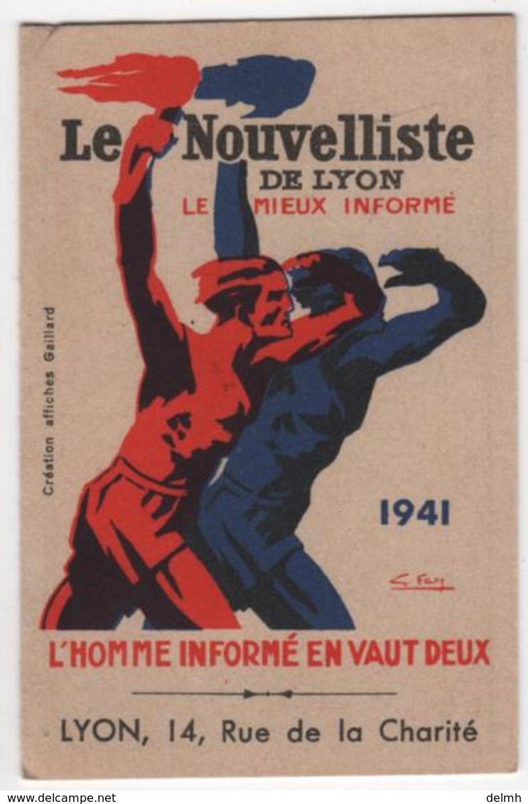 CALENDRIER 1941 Le Nouvelliste De Lyon WWII Collaboration Pétain Vichy - Calendriers